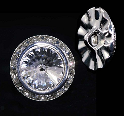 16mm Rondel Button with Crystal Rivoli Center - 11790/16mm