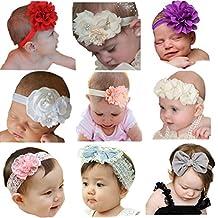 Arlai Pack of 9 Beautiful Infant Hair Bows Newborn headband