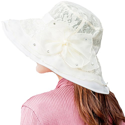 HH HOFNEN Women Summer Kentucky Derby Sun Hats Wide Brim Chiffon Lace Flounce UV Sun Hats, free size, Beige