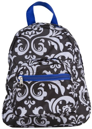 Black and White Damask Floral Print Mini Backpack Purse with Blue Trim, Bags Central