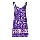 Xiaojmake Women's Sleeveless Floral Print Empire Waist Backless Flowy Boho Mini Tank Dress Purple