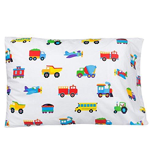 Wildkin Cotton Pillow Case, Trains Planes & Trucks (Train Pillowcase)