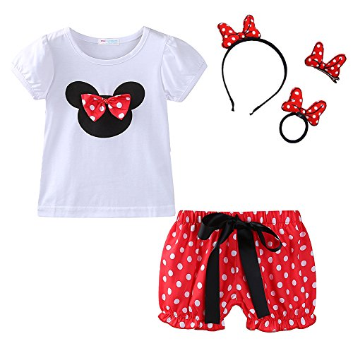 Mud Kingdom Toddler Girl Cute Short Outfits with Headbands Sets Red 24 Months