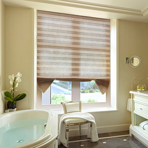 Pleated window blinds shades brown cordless light for Smart window shades