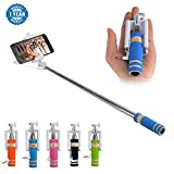 Drumstone Selfie Stick With Aux Cable Wired Self Portrait Monopod Holder Works with all Android or Iphone Devices (1 Year Warranty, Color May Vary)