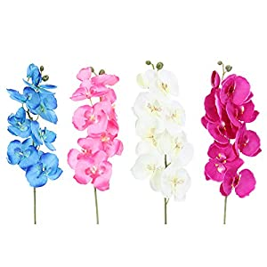 Whitelotous 1 PC DIY Artificial Butterfly Orchid Silk Flower Artificial Flowers for Home Party Wedding Decor 66