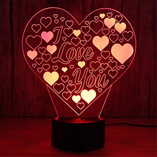 Xindda LED Simple Heart Love Creative 3D Night Light, Product Size: 18416888mm, Suitable for Families, Bars, Cafes, Restaurants, Weddings, Parties and other Places. (Stained Glass Night Light Patterns)