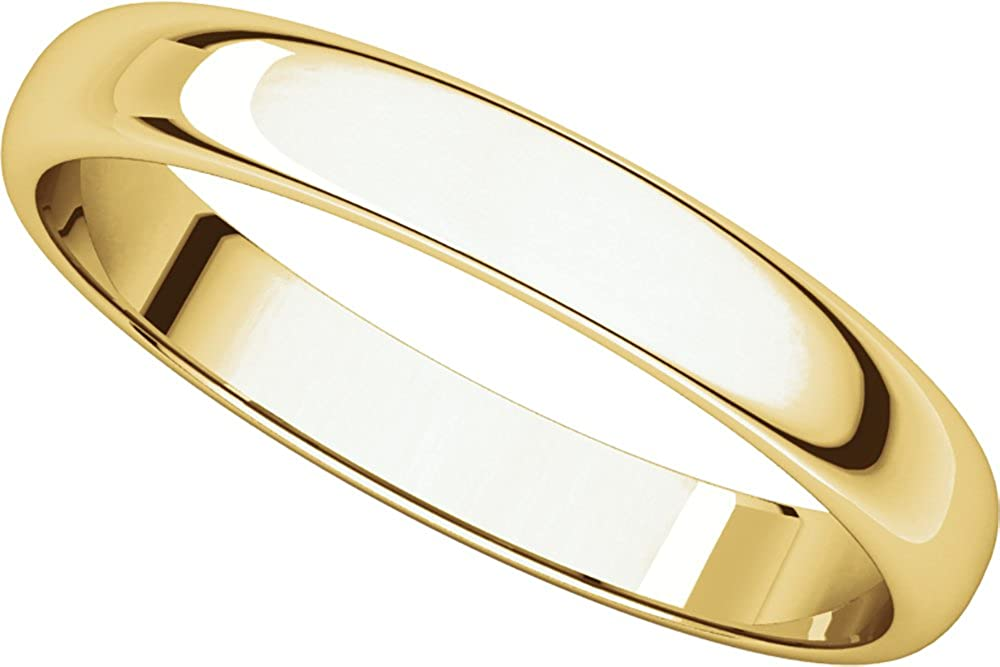 Mens 10K Yellow Gold 3mm Light Half Round Wedding Band Ring