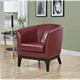 Monarch Specialties 8026 Accent Chair in Red Leather