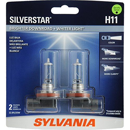 SYLVANIA - H11 SilverStar - High Performance Halogen Headlight Bulb, High Beam, Low Beam and Fog Replacement Bulb, Brighter Downroad with Whiter Light (Contains 2 Bulbs)