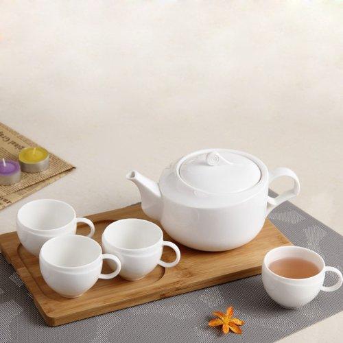 DecentGadget® Ceramic Tea Set 22oz Teapot with Lid 4X3.4oz Cups with Natural Oak Tray Base for Coffee Tea Beverage Milk Flower Fruit Tea