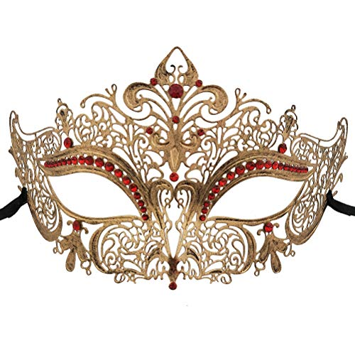 Xvevina Venetian Party Masquerade Mask Women Vintage Red Rhinestone Halloween Mask
