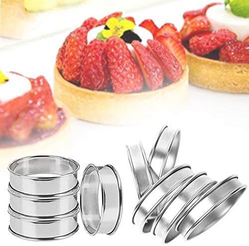 British style muffin ring double roll 4-piece stainless steel professional muffin ring Crumpet Rings.