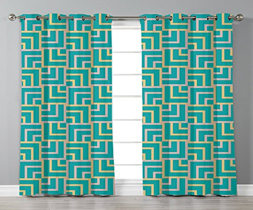 Thermal Insulated Blackout Grommet Window Curtains,Turquoise,Art Deco Style Shapes Like Geometrical Squares with Lines Image,Pink Yellow and Turquoise,2 Panel Set Window Drapes,for Living Room (Art Deco Window)
