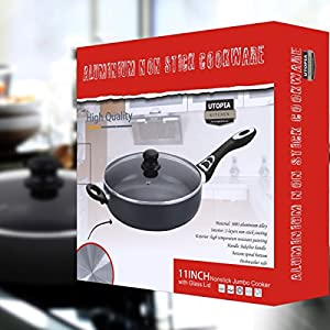 Aluminum Nonstick 11 Inch Jumbo Cooker / Sauté Pan / Deep Frying Pan with Glass Lid - 4.6 Quart - Dishwasher Safe by Utopia Kitchen