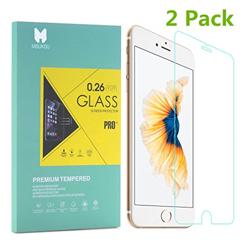 MouKou iPhone 7 6S 6 Glass Screen Protector 2 Pack Tempered Glass Screen Protectors for iPhone 7 6 6S 4.7'