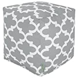 Majestic Home Goods Gray Trellis Indoor/Outdoor Bean Bag Ottoman Pouf Cube 17'' L x 17'' W x 17'' H