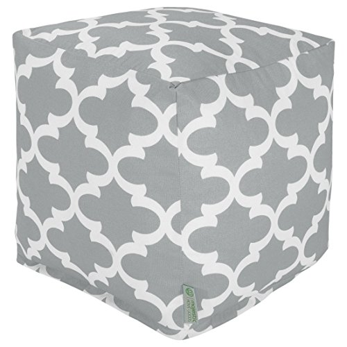 Majestic Home Goods Gray Trellis Indoor/Outdoor Bean Bag Ottoman Pouf Cube 17'' L x 17'' W x 17'' H by Majestic Home Goods