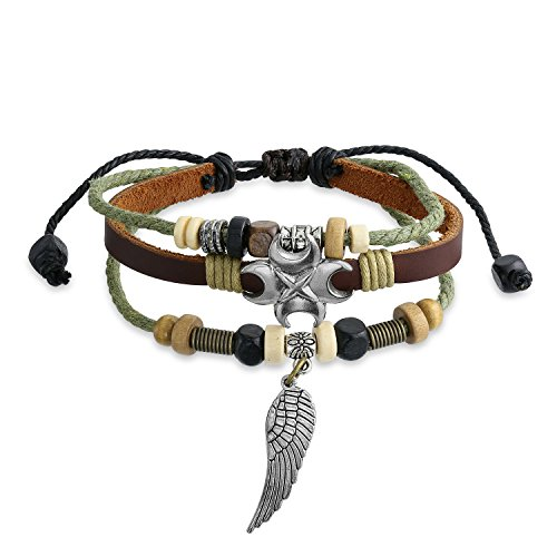 Bling Jewelry Angel Wing Feather Charm Brown Genuine Leather Rope Multi Strand Wristband Surf Zen Bracelet for Women Men Adjustable (Native American Symbol For Mother And Daughter)