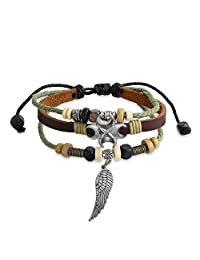 Bling Jewelry Zen Surf Bracelet Leather Wrap Angel Wing Feather Silver Plated