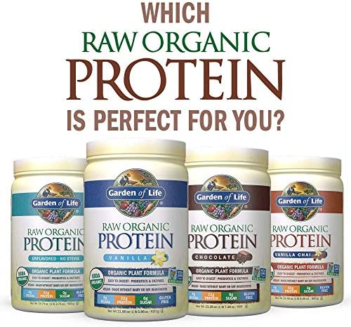 Garden of Life Raw Organic Protein Chocolate Powder, 20 Servings *Packaging May Vary* Certified Vegan, Gluten Free, Organic, Non-GMO, Plant Based Sugar Free Protein Shake with Probiotics & Enzymes 10