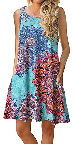 - Summer Beach Dresses for Women Tshirt Sundresses Boho Casual Sleeveless Floral Shift Pockets Swing Loose Damask Sky Blue Large