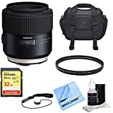 Tamron SP 85mm f1.8 Di VC USD Lens for Canon Full-Frame EF Mount Cameras w/Bundle Includes, UV Protective Filter, Camera Bag, Lens Cap Keeper, Lens Cleaning Kit, Micro Fiber Cloth & 32GB Memory Card.