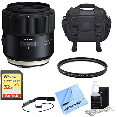 Tamron SP 85mm f1.8 Di VC USD Lens for Canon Full-Frame EF Mount Cameras w/Bundle Includes, UV Protective Filter, Camera Bag, Lens Cap Keeper, Lens Cleaning Kit, Micro Fiber Cloth & 32GB Memory Card. by Tamron