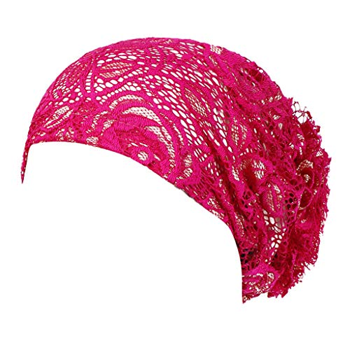XILALU Women Lace Floral Muslim Ruffle Cancer Chemo Hat Beanie Turban Head Wrap Cap Hot Pink