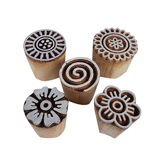 Set of 5 Floral Spiral Motif Wooden Printing Blocks Henna Tattoo Print Block Scrapbook Indian Stamps by CraftyArt