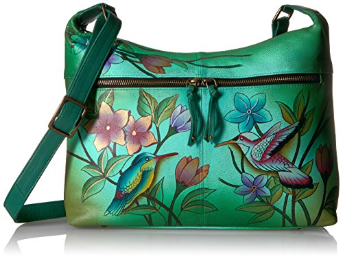 Anna by Anuschka Handpainted Leather Women's Shoulder Bag, Bip-g-Birds in Paradise (Anuschka Purse)