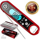 Kizen Instant Read Meat Thermometer- Waterproof Ambidextrous Thermometer with Backlight & Calibration. Digital Food Thermometer for Kitchen, Outdoor Cooking, BBQ, and Grill! (Red)