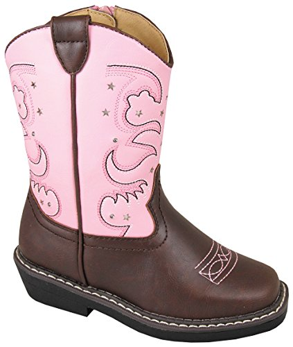 Smoky Mountain Toddler-Girls Austin Lights Western Boot Round Toe - 1501T Brown gfUhs1Yx