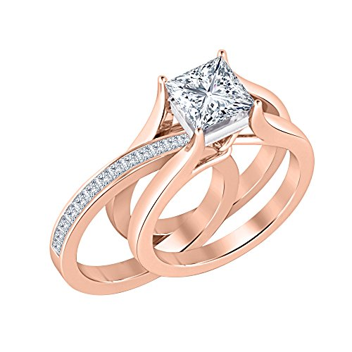 14k Two Gold Sapphire Tone (Gold & Diamonds Jewellery Two-Tone 1.85 ct.tw Princess Cut Created White Sapphire 14K Rose Gold Plated 925 Sterling Silver Interchangeable Wedding Ring Set For Women's)