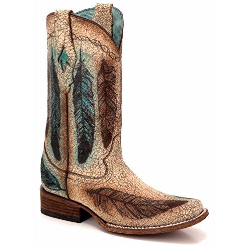 Innhegningen Damene Sand Gravert Fjær Cowgirl Boots