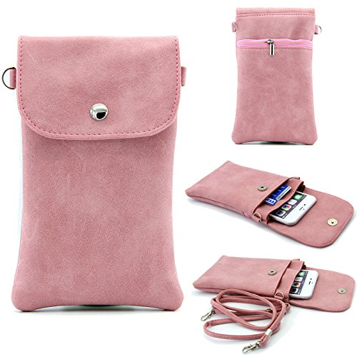 Phone Purse, Dteck(TM) Multipurpose Convenient Separated Pouches Bag Crossbody Purse with Shoulder Strap for Apple iPhone & Samsung Galaxy Series and other Smartphones Under 6.3 inch (07 Pink) (Series Player Pink State)