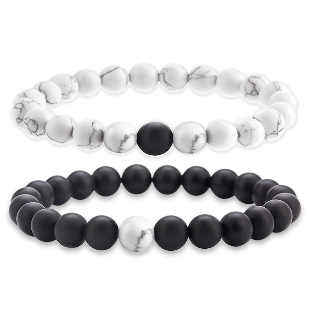 Paris Selection Distance Relation Black Agate & White Howlite Beads 2 Bracelet Set in Gift Box DB2