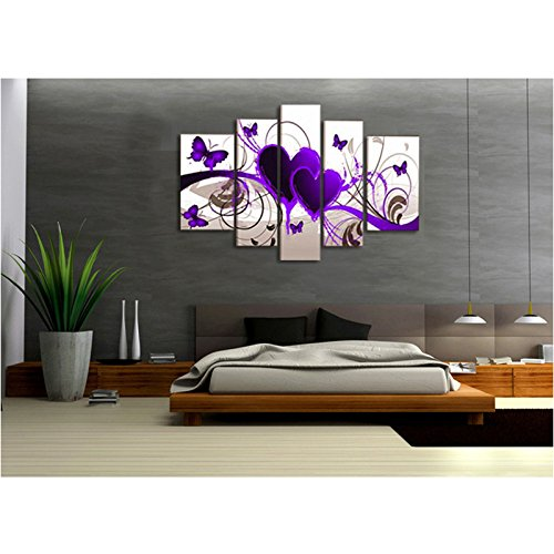 Premium Quality Canvas Printed Wall Art Poster 5 Pieces / 5 Pannel Wall Decor Purple Hearts Painting, Home Decor Pictures - With Wooden Frame