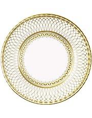 Stoły rozmawiające 27 cm papier zestaw 8 sztuk, porcelana złota impreza duża płyta 8 szt., 24,55 x 2,27 x 24,55 cm