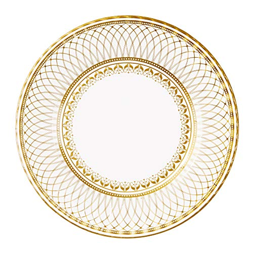 Talking Tables Gold Party Decorations | Gold Paper Plates | White And Gold Plates | Great For Wedding, Bridal Shower, Christmas And Birthday Decorations | Large