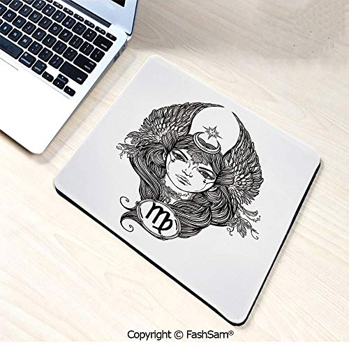 Personalized 3D Mouse Pad Black and White Monochrome Drawing of a Woman with Long Hair and Wings Horoscope Decorative for Laptop Desktop(W7.8xL9.45)