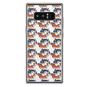 Samsung Note 8 Transparent Edge Phone Case Asian Culture Phone Case Fish Note 8 Cover with Transparent Frame