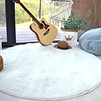 Noahas 4 feet Round Area Rugs Non-skid Shaggy Carpet for Livingroom Bedroom, Children Play Dormitory Nursery Rug, White