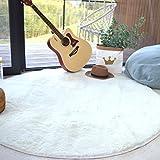 Noahas 4 feet Round Area Rugs Non-skid Shaggy Carpet for Livingroom Bedroom, Children Play Dormitory Nursery Rug, White