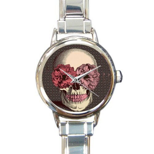 (Personalized Watch Cool Sugar Skull with Flower Round Italian Charm stainless steel Watch)