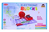 Planet of Toys Learning Science Electronic Circuit Blocks - Create Exciting Projects (Fm Radio, Glow Flying Saucer, Logic Circuit) For Kids, Children