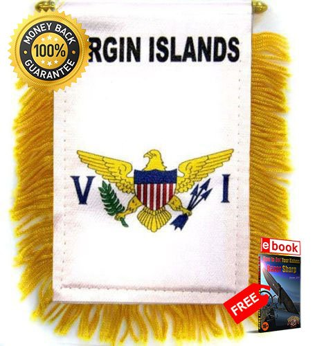 Two Sided Hanging Banner Flag - U.S. Virgin Islands MINI BANNER FLAG CAR &, HOME WINDOW MIRROR HANGING 2 SIDED PREMIUM Vivid Color and UV Fade eBOOK by MOON KNIVES