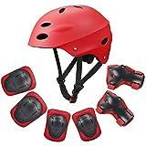 Kid's Protective Gear Set,Child Helmet Knee Pads Elbow Pads Wrist Guards for Skateboard/Skate/Roller/Skateboard (Red)