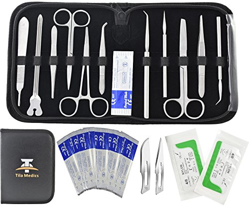 (24Pcs Advanced Dissection Kit for Medical Biology & Veterinary Students- Anatomy Lab Botany Animal Frog etc Dissecting Kit. Premium Stainless Steel Scalpel Knife Handle-11 Blades-2 Sutures Thread)