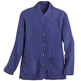 FOCUS FASHIONS Women's Waffle Weave Knit Cotton Jacket